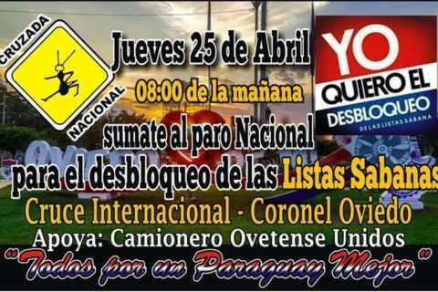 En Coronel Oviedo convocan a manifestarse a favor del desbloqueo de listas sábana