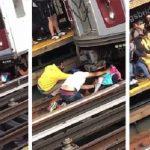 Se lanzó con su hija de 5 años frente a un tren y la pequeña sobrevivió