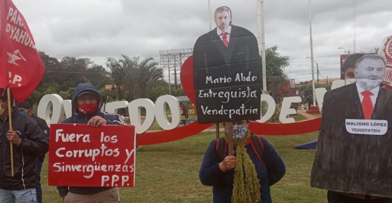 Manifestación contra el gobierno de Mario Abdo en Coronel Oviedo